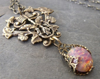 Brass Filigree Necklace, Neo Victorian Dragonfly Necklace with Fire Opal Glass Jewel Wrapped In filigree,  Art Nouveau, Bohemian Jewelry