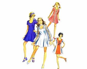 1970s Womens Mini-Dress  Simplicity 8803 Vintage Sewing Pattern Princess Seams Collarless U-Neckline Junior Misses Size 11 Bust 34