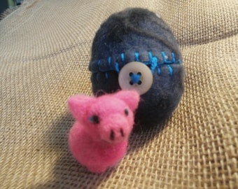 Ready to Ship,  Piggie in a Midnight Egg, Waldorf Needle-felted Toy