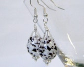 Clear, White, and Black Speckled Hand-Blown Glass Earrings on Surgical Steel