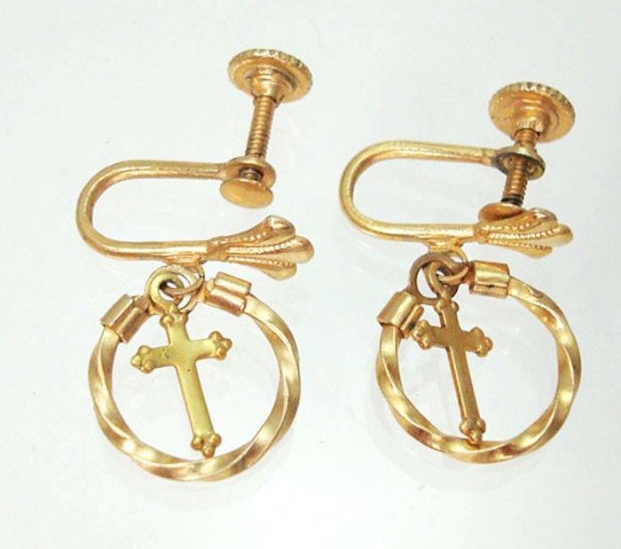 twisted circle earrings with free hanging cross by