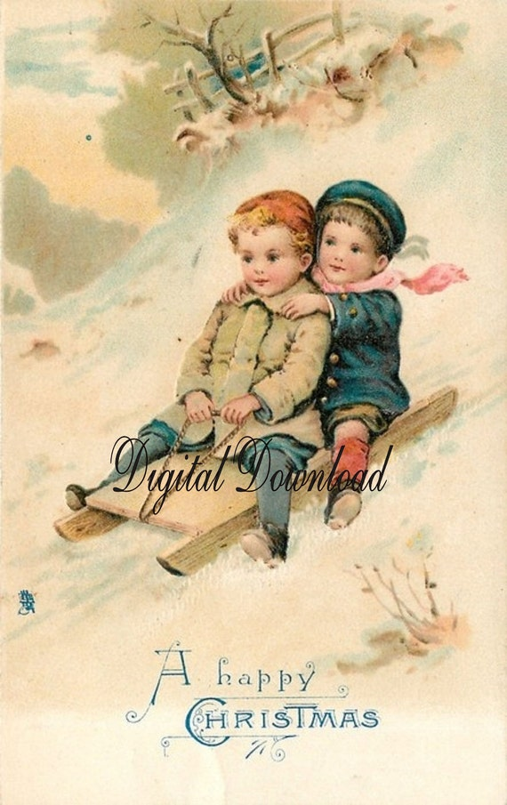 christmas boys sled  gorgeous vintage style postcard