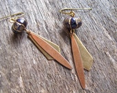 Wood Bead Earrings. Gift Under 30. Fall Jewelry. Brass Arrow Dangles. Mixed Metals.