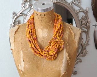 Crochet Wool Necklace - Metallic gold and warm Colors-