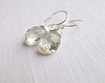 Icy Mint Green Prasiolite Amethyst Drop Earrings
