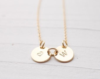 Dainty Gold Initial Necklace Monogram Jewelry in Gold filled Personalized Letter Charms Gift For Mom Best Friend or Sister