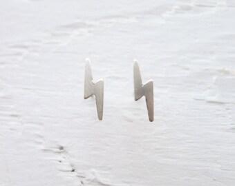 Thunderbolt Earrings Lightning Bolt Studs Sterling Silver or Gold Thunder bolt Stud Lightening Rod Earings Christmas Gift Ideas