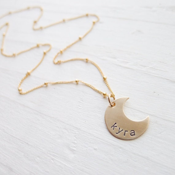 Personalized Moon Necklace Gold Moon Pendant on Sattelite Chain Name Charm Celestial Jewelry Lowercase Letters Crescant Moons Perfect Gift