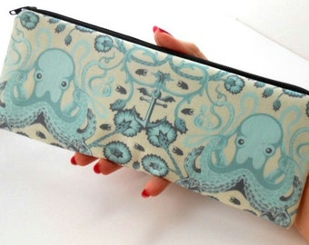 Long  Zipper Pouch Cosmetic Bag Pencil Case ECO Friendly Padded Aqua Octo Garden