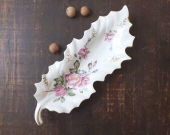 Pink Roses Porcelain Tray, Vintage Leaf Shaped Trinket Dish, Cottage Chic Vanity Decor