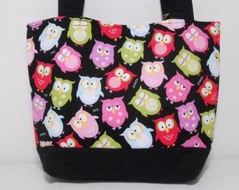 Black Medium Purse Black Night Owls Tote Bag with Pockets