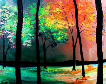 Print of original oil painting landscape by Aja - The Four Seasons 30x60 24x48 20x40 12x24 choose your size