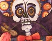 Dia de los Muertos Calavera Sad Mariachi with Rose and Sombero Digital File of Original Watercolor by Candace Byington