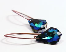 Teal Blue Crystal & Copper Fire Earrings Aquamarine Sphinx Green Swarovski Teardrops Hand Formed V Shape Hammered Earwires Nautical Chic