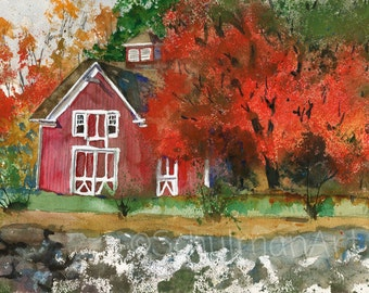 ORIGINAL Watercolor landscape painting of a red barn | country decor