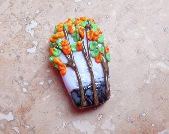 "Lampwork glass pendant—""Turning Leaves"""