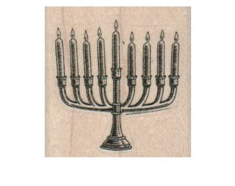 Rubber stamp Menorrah   Jewish candles holiday celebration stamping scrapbooking supplies number 2771