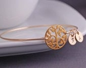 Gold Tree of Life Bracelet, Family Tree Jewelry, Tree Bangle Bracelet