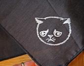Dark blue or black hanky handkerchief, hand printed white allergic cat