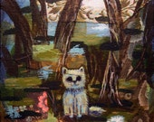 Cat #3 memory and future knowledge transfer acrylic and paper painting