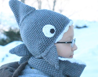 Shark Bite Hat and Cowl Combo