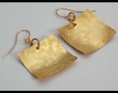 SILK - Handforged Raw Silk Textured Dished Bronze Square Earrings