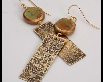 SILK ROAD - Turquoise Smothered in Gold - Handforged Raw Silk Textured Bronze Earrings