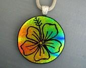 Round Dichroic Fused Glass Flower Pendant, Hand Etched Hibiscus, Fused Glass Pendant, Hand Etched Focal Pendant - Hawaiian Inspired Jewelry
