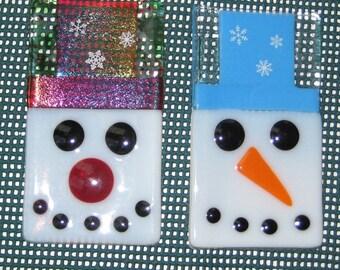 Christmas Soap Dish, Fused Glass Trinket Tray, Glass Holiday Dish, Fused Glass Spoon Rest, Snowman Soap Dish, Glass Snowman Candy Dish