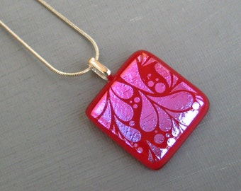 Small Fused Glass Pendant, Red and Pink Glass Pendant, Dichroic Pendant, Square Glass Pendant, Glass Slide - Red Glass Necklace
