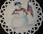 Hand Painted Porcelain Patriotic  Snowman