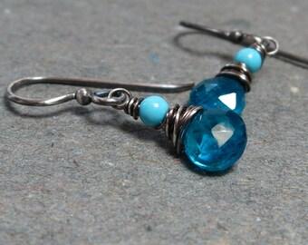 Apatite Earrings Blue Turquoise Earrings Oxidized Sterling Silver Earrings