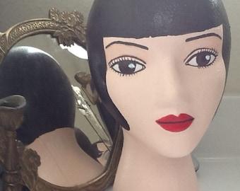 Hand Painted Mannequin Display Head - Black Hair & Brown Eyes
