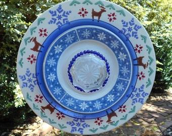 Plate Flower Garden Art-Reindeer
