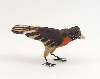 Vintage Inspired Spun Cotton Robin Ornament/Figure