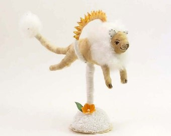 Vintage Inspired Spun Cotton Fire Jumping Lion Figure