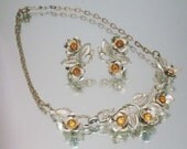 Coro Necklace & Earring Set Amber Rhinestones Flowers Leaves