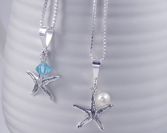Silver Starfish Necklace, Freshwater Pearl or Crystal