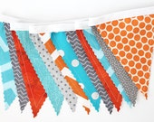 Custom for JAMIE bunting, Black, Aqua, Gray