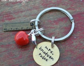 stamped teacher thank you keychain with apple and ruler charms