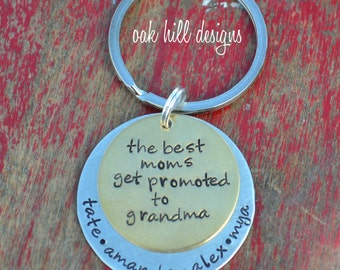 stamped grandma keychain-mixed metal-custom and personalized-promoted to grandma