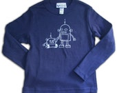 Long sleeve Robot Toddler Tee, size 2T, Big brother tshirt, robot graphic tee, long sleeve tee, robot tshirt  for boys, navy tshirt