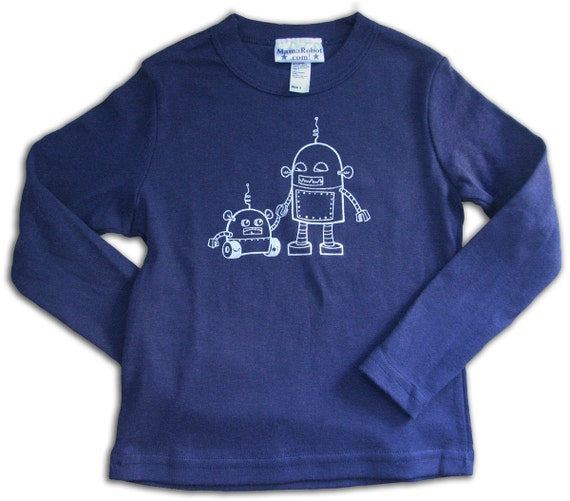 Robot Long sleeve tshirt for kids, size 2T, Big brother tshirt, robot graphic tee, long sleeve tee for 2 year old, robot tshirt for boys