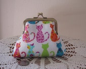 Small  Kisslock  Snap Coin Purse Colorful Cats Made in the USA