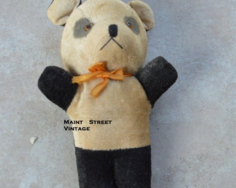 Rare Panda Bear Stuffed Toy with Squeaker 1920s-1930s REDUCED