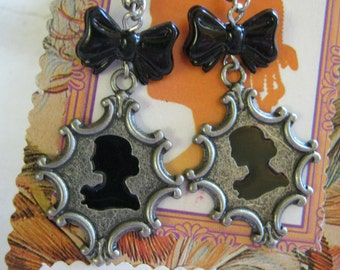 Steampunk Cameo Earrings With Vintage Black Bow