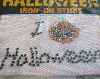 Halloween Pumpkin Iron On Studs Patch