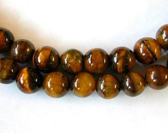 10mm Tiger Eye Beads  Full Strand