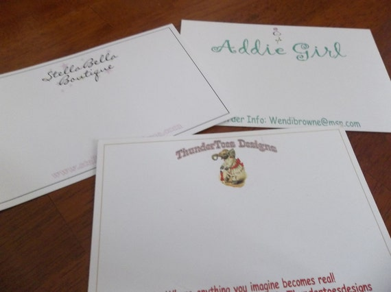 100 Custom Printed Notecards - Postcards - Hairbow Cards - Professionally Offset Printed - SUPER THICK 15pt CARDSTOCK