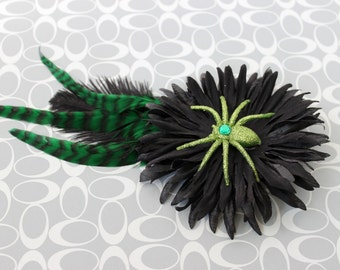 Clearance Spider Envy - Green and Black Halloween Hair Clip